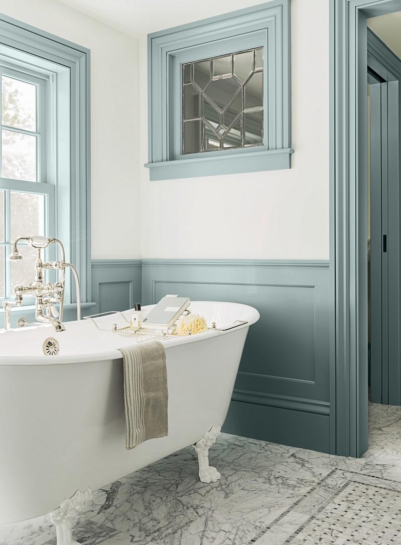 Крашеные стены в ванной в стиле ретро