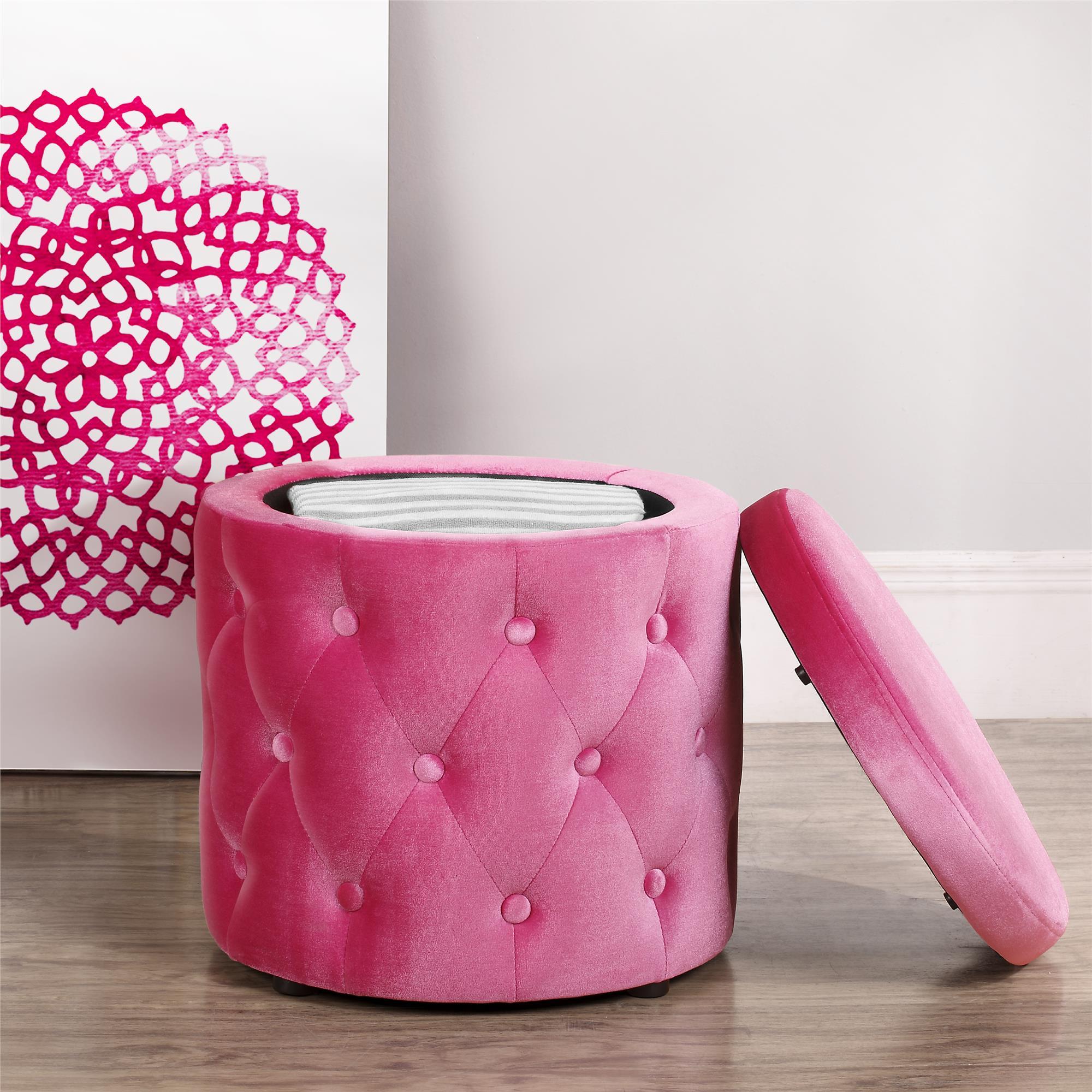 Розовый пуфик для прихожей