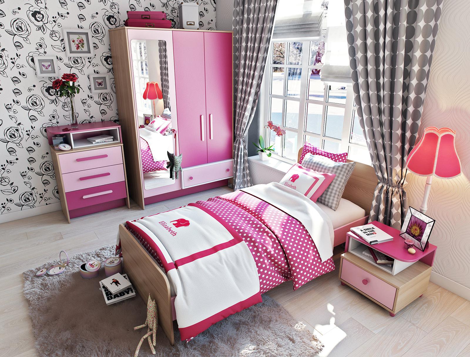 Розовая мебель в интерьере детской
