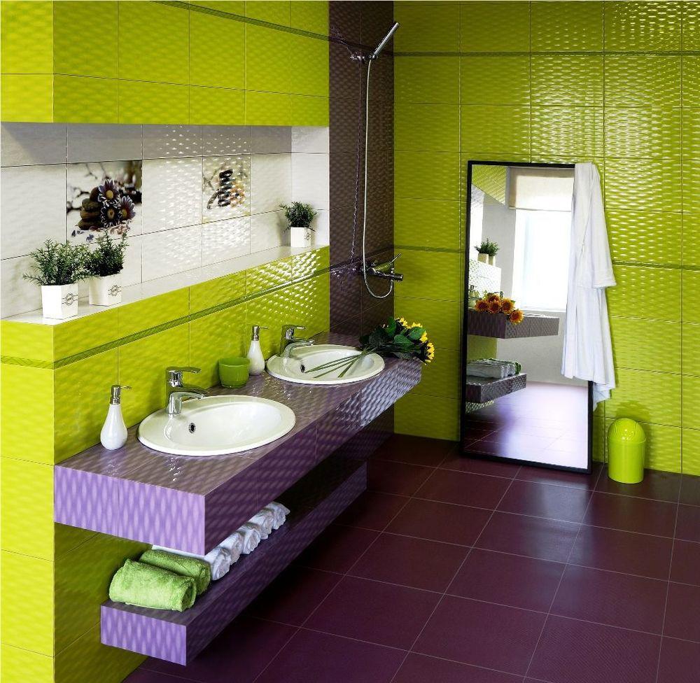Салатово-фиолетовая ванная комната