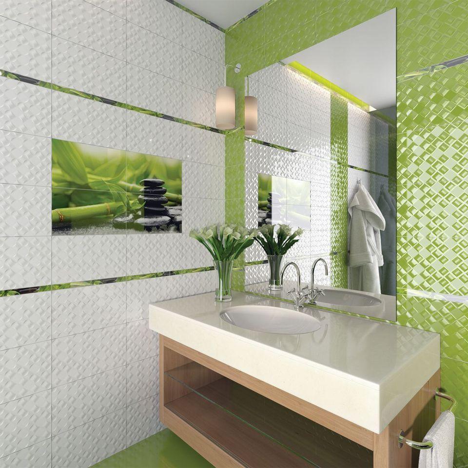 Белая и салатовая плитка в дизайне ванной