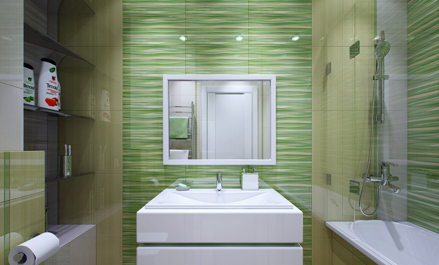 Салатово-бежевая плитка в ванной