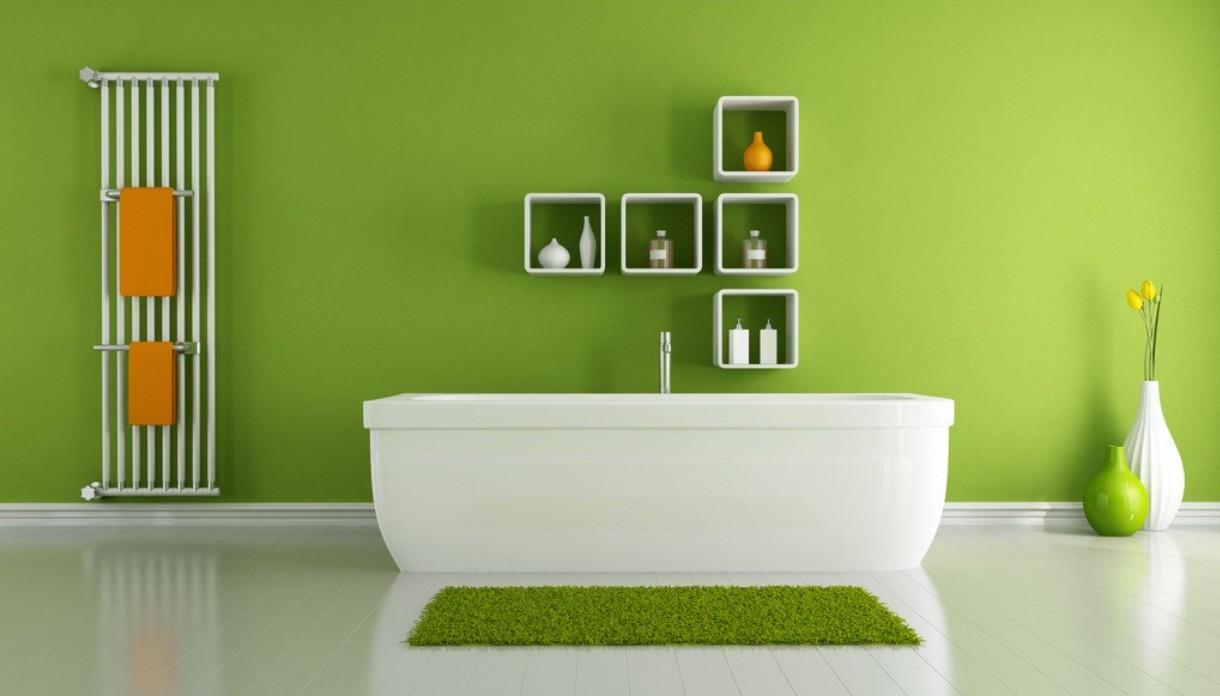 Бело-салатовый дизайн ванной комнаты