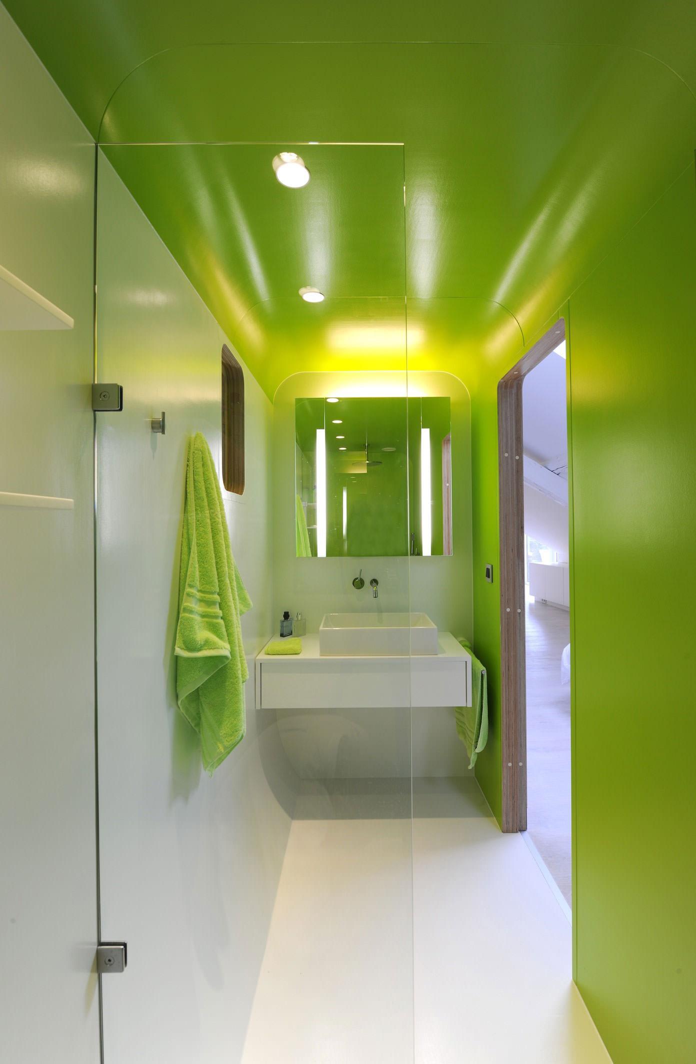 Салатовая стена и потолок в современной ванной
