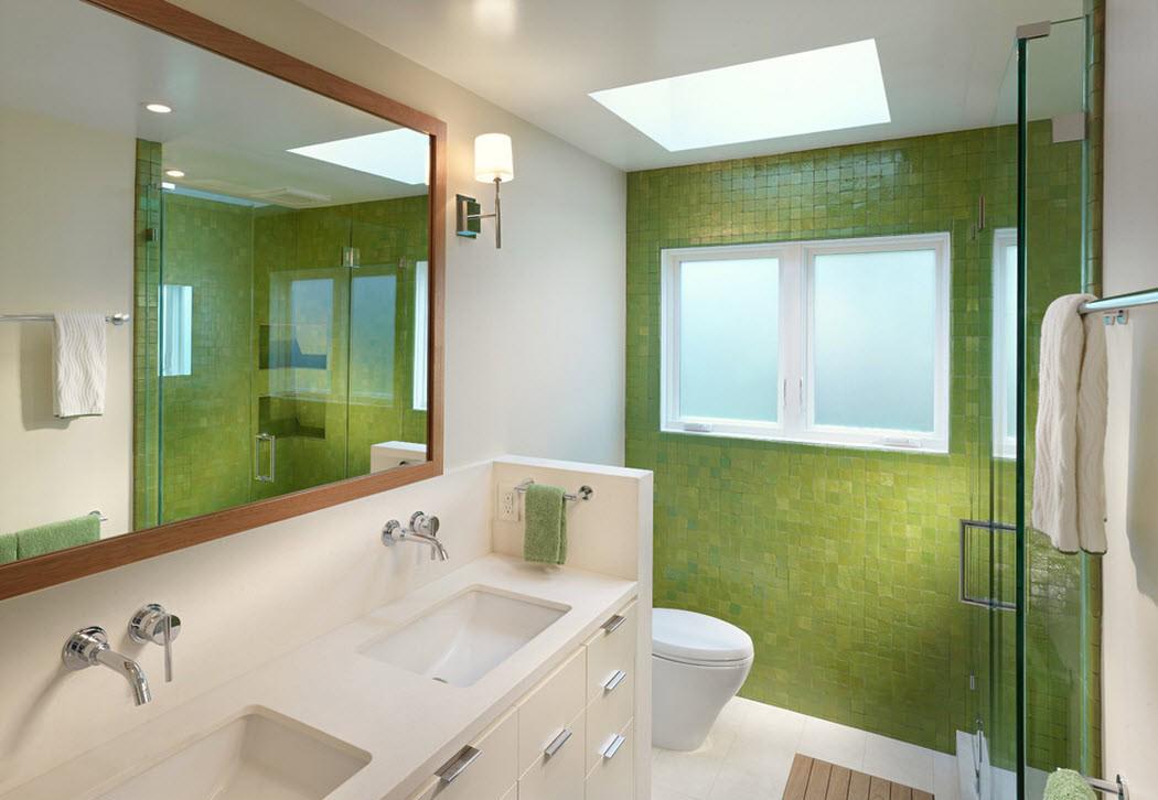 Салатовая плитка в отделке ванной