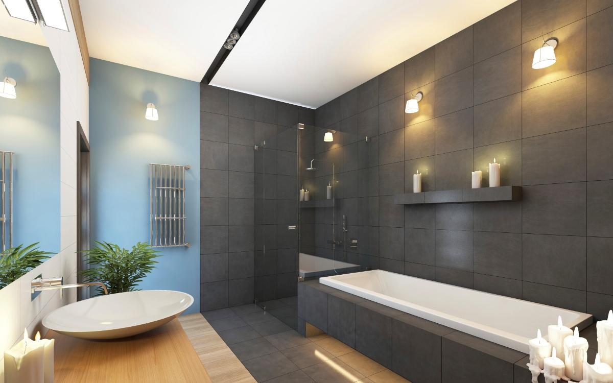 Сочетание цветов с серым в ванной комнате