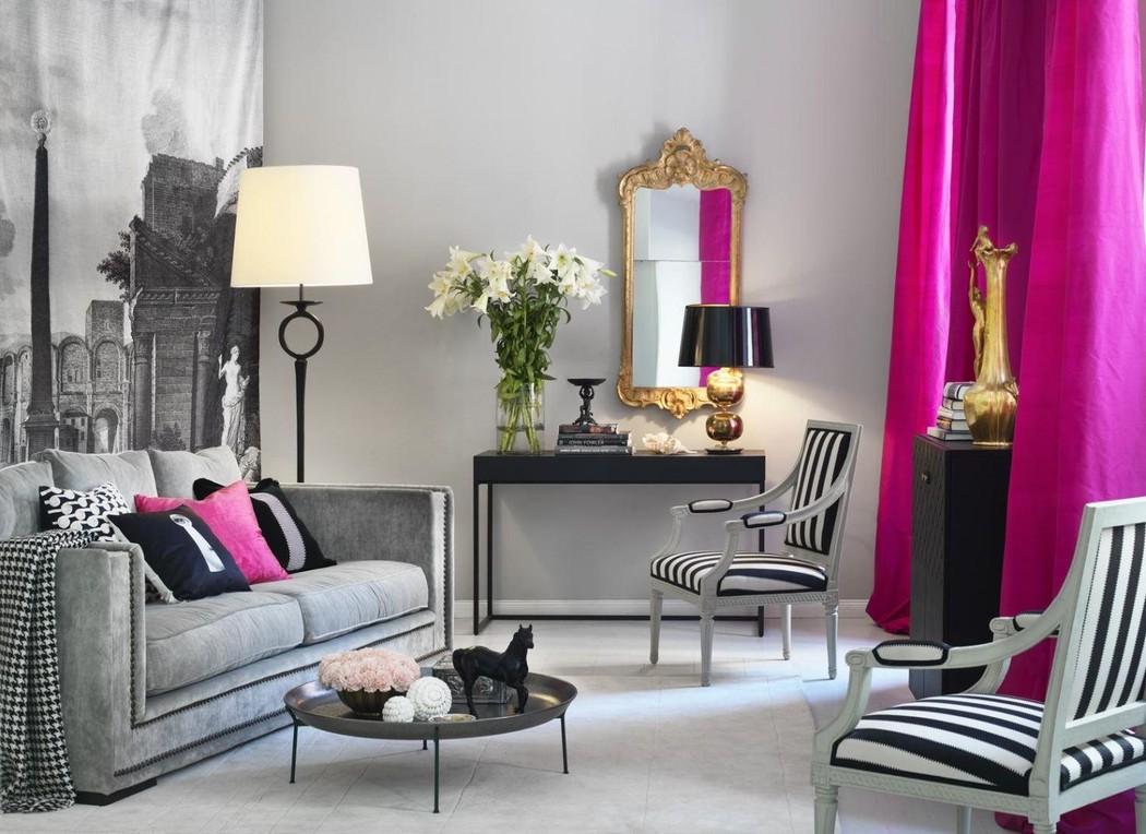 Розово-серая мебель и акценты в гостиной