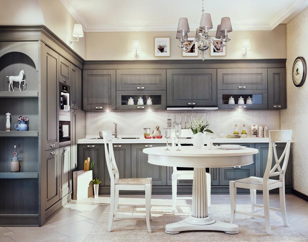 Серый гарнитур в классической кухне