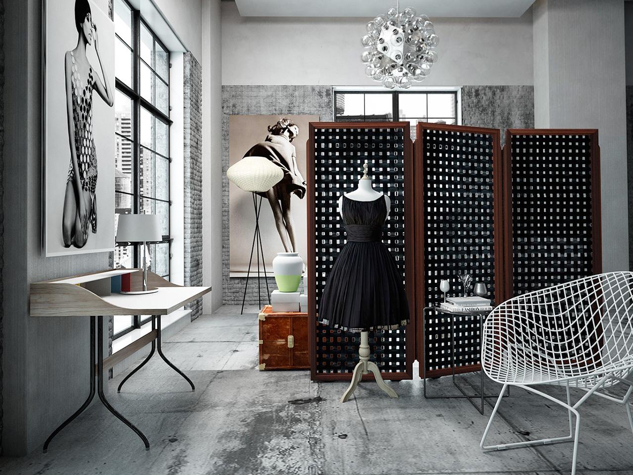 Черно-коричневая ширма в интерьере квартиры