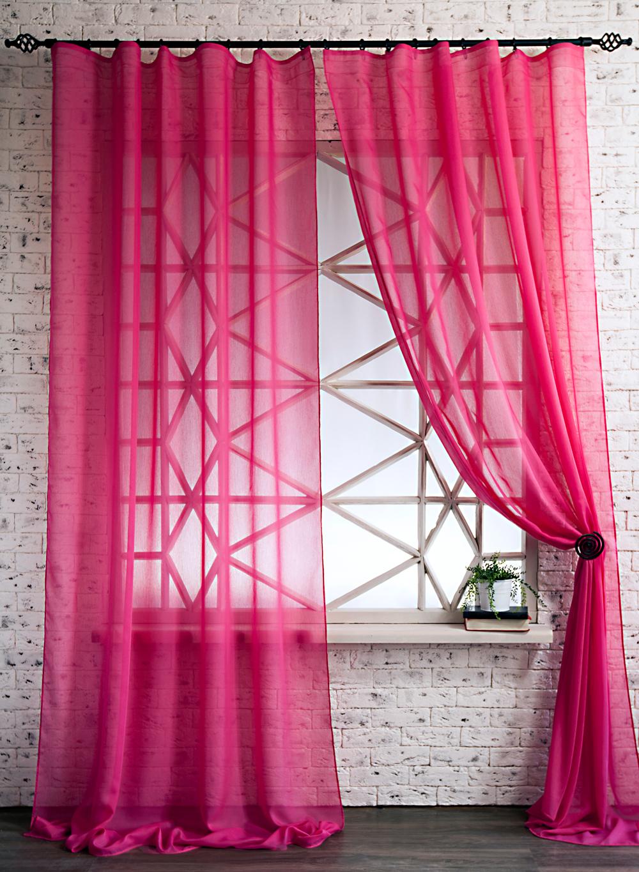 Ярко-розовые шторы из органзы