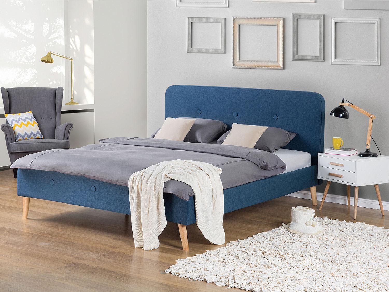 Кровать с мягким изголовьем синим