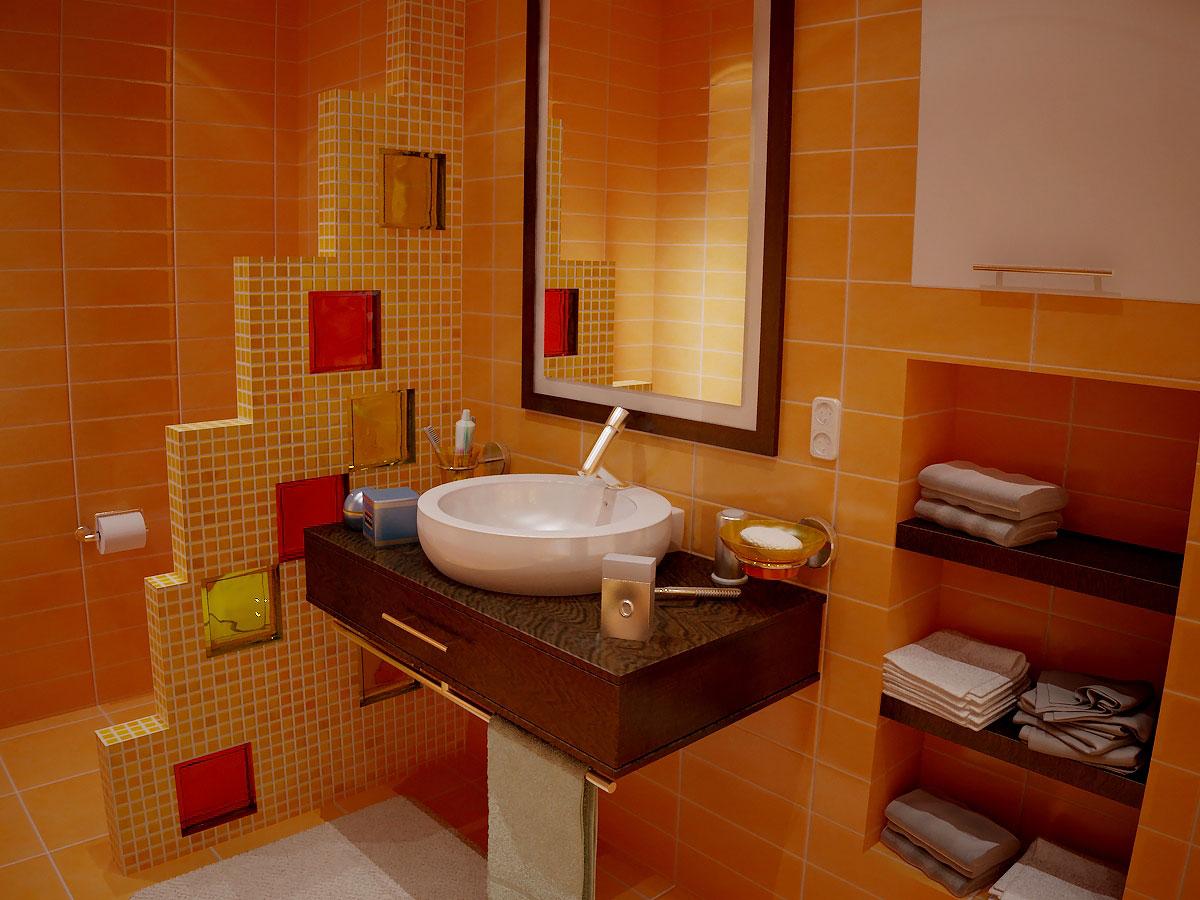 Перегородка в ванной со вставками из стеклянных блоков
