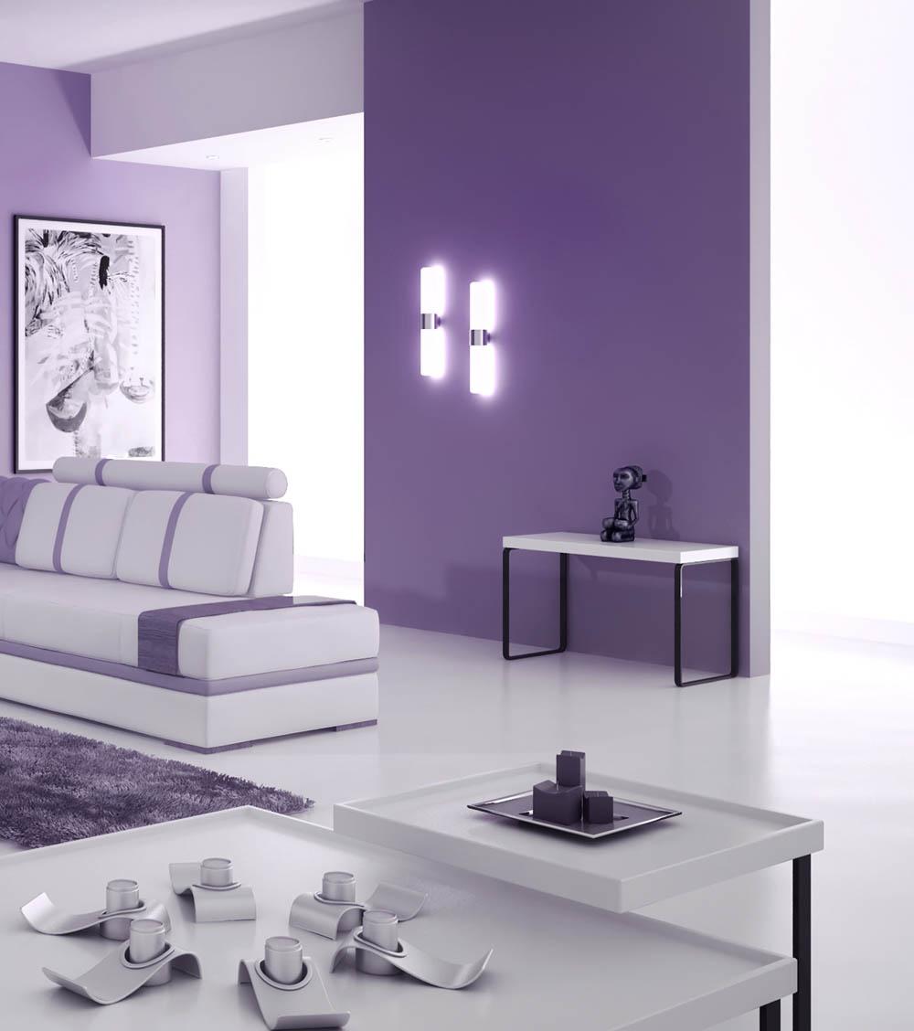 Фиолетовые стеклообои в гостиной