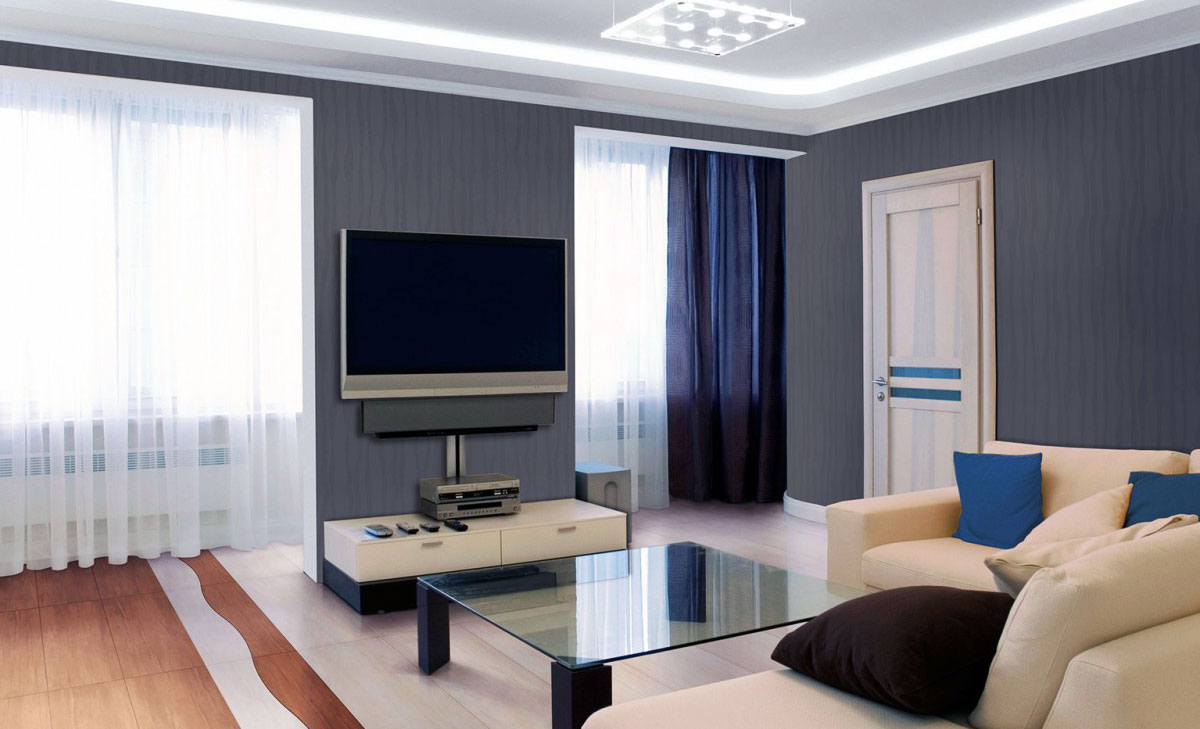 Серые стеклообои в гостиной