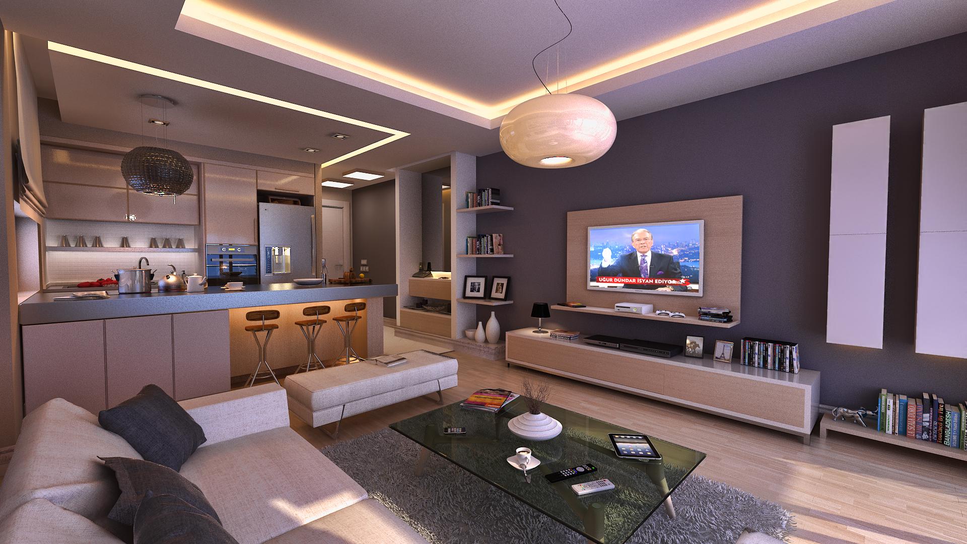 Телевизор в интерьере большой кухни-гостиной