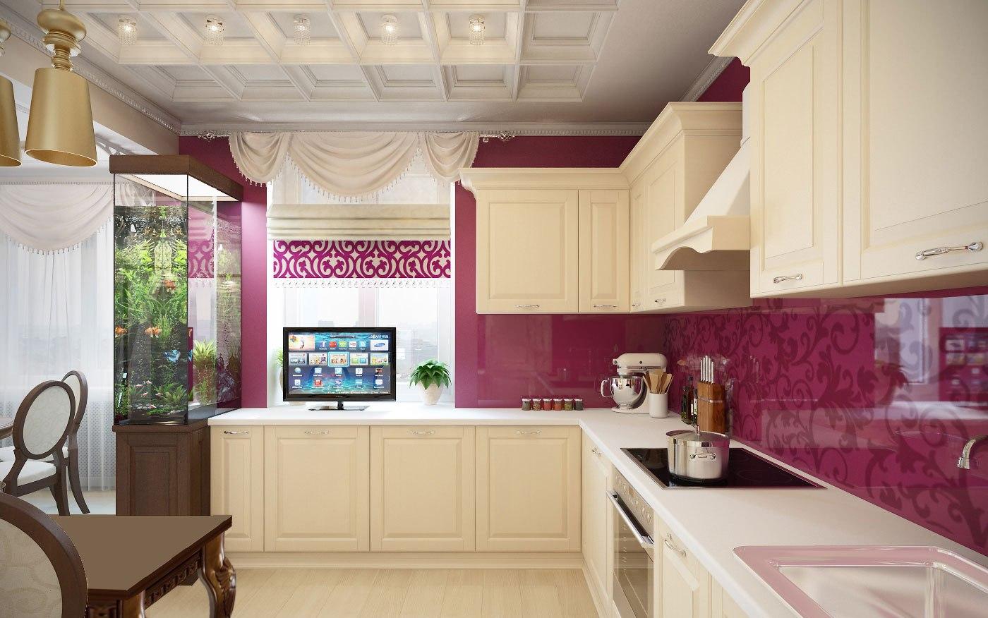 Телевизор на кухонном гарнитуре