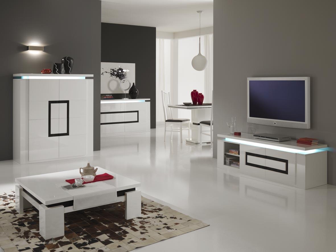 Черно-белая тумба под телевизор с подсветкой