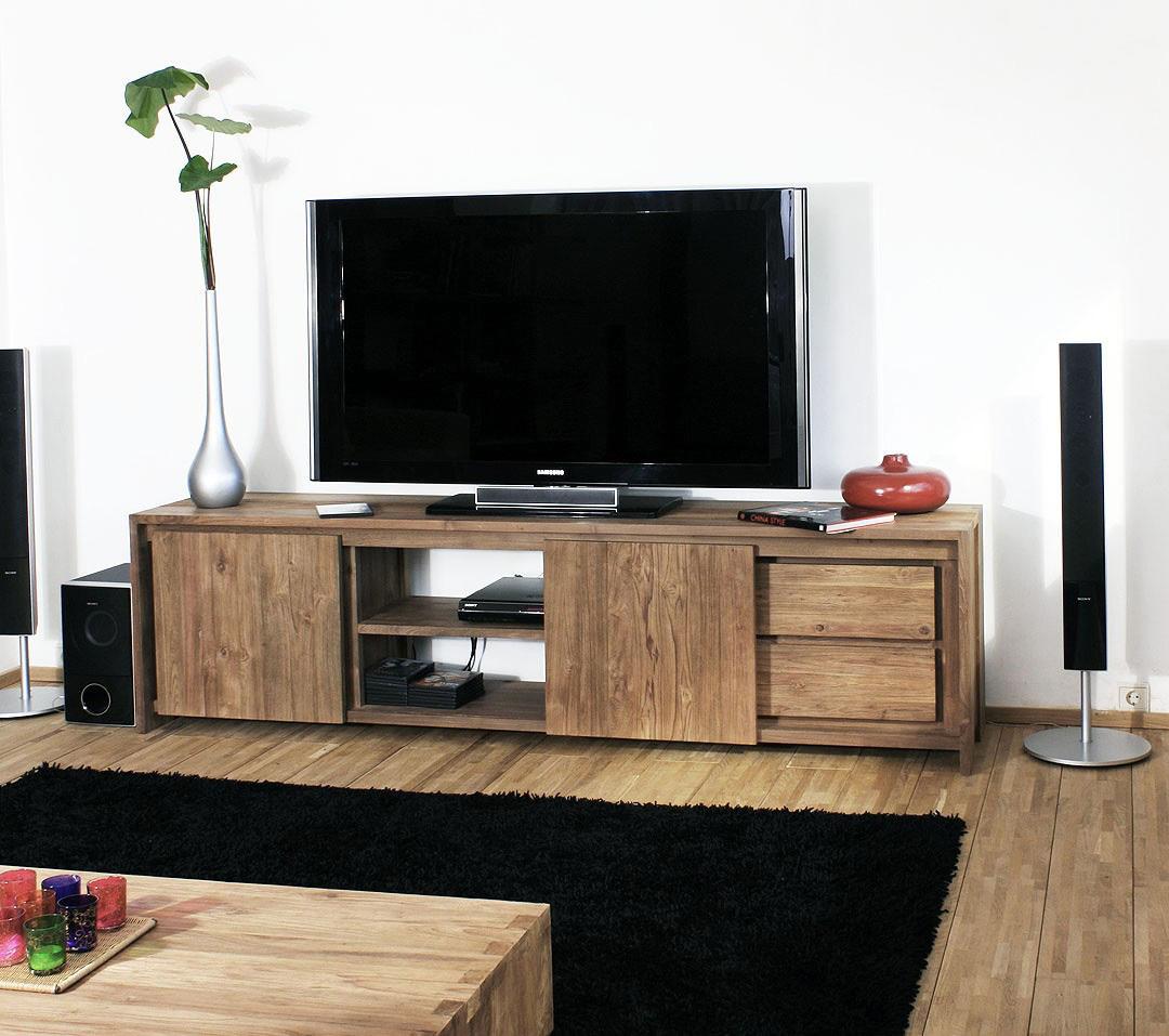 Коричневая тумба под телевизор из массива дерева