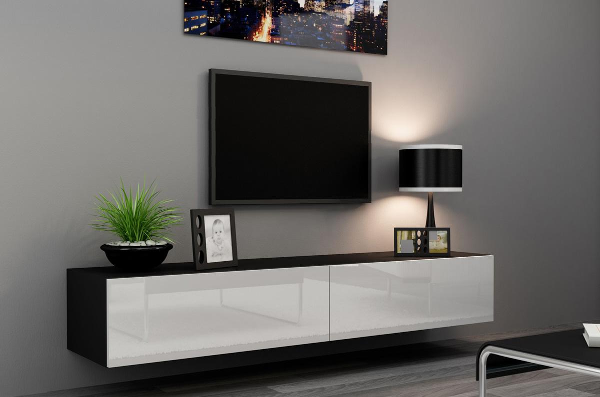 Черно-белая тумба под телевизор в гостиной