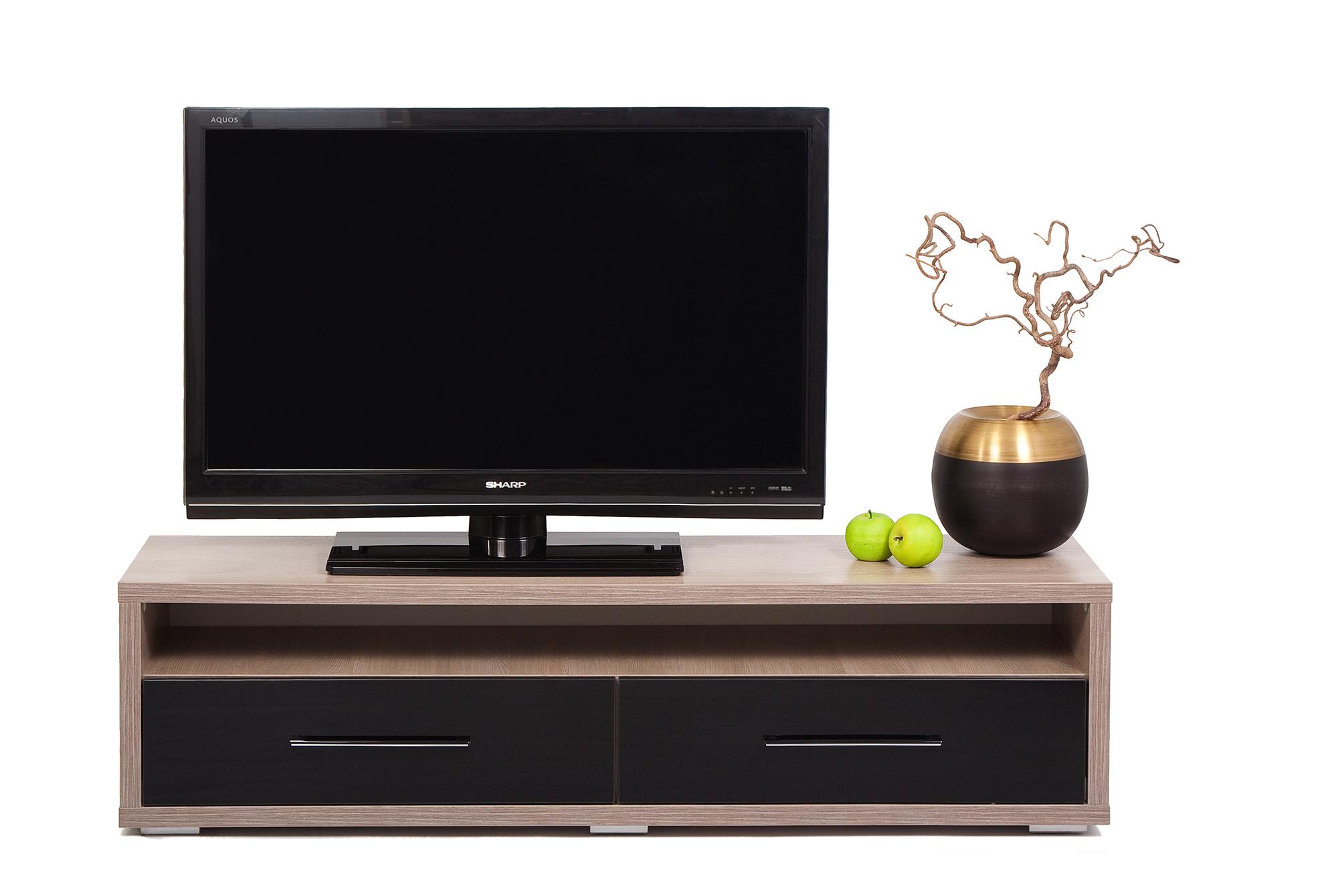 Коричнево-черная тумба под телевизор