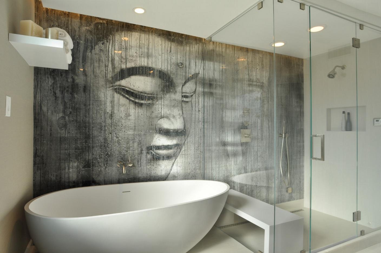 Стильная черно-белая ванная комната без унитаза