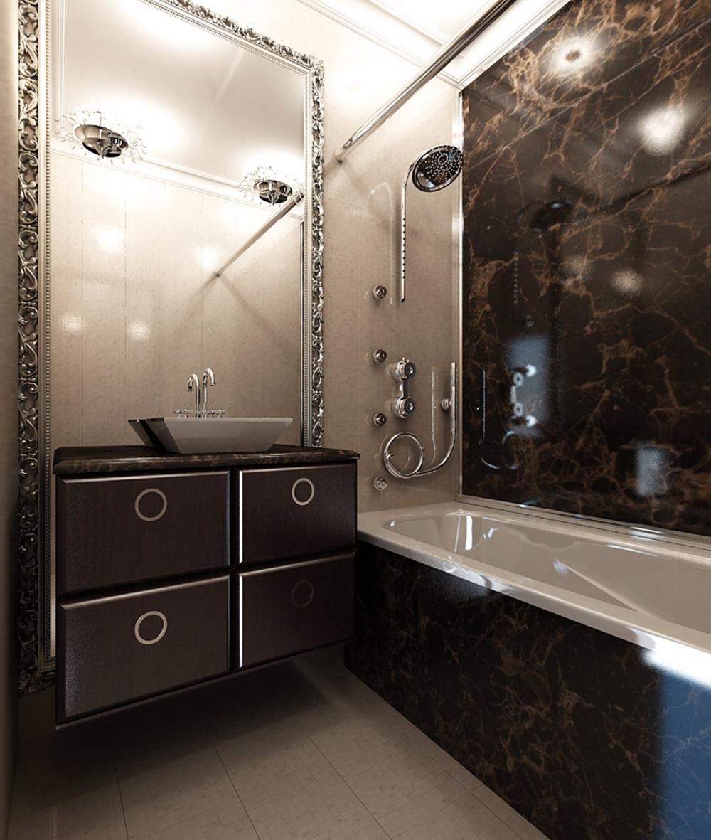 Люстры в коричнево-бежевой ванной комнате без унитаза