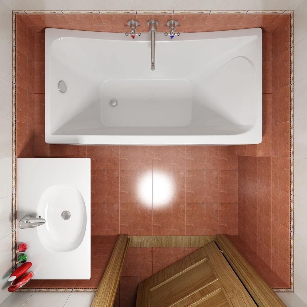 Пример планировки ванной комнаты без унитаза