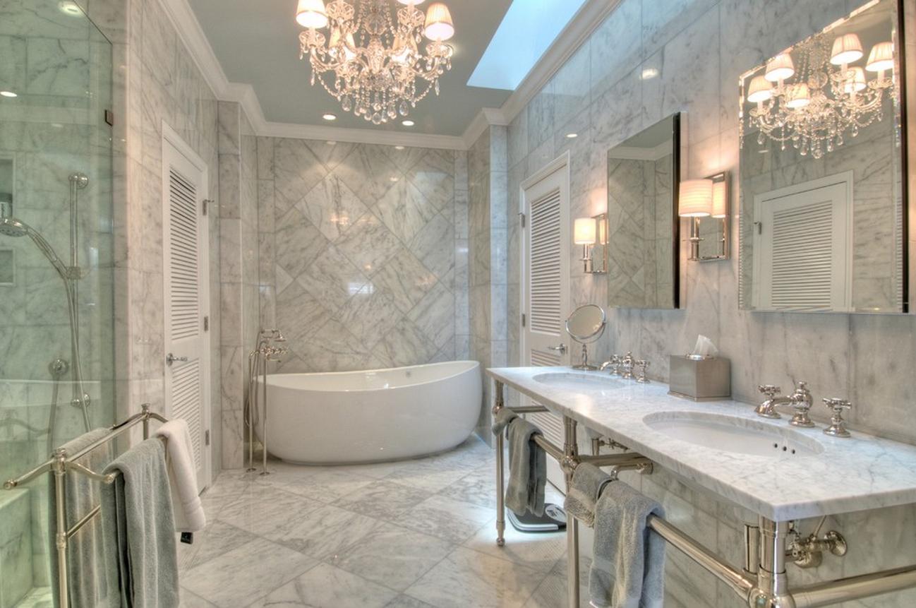 Мрамор в отделке ванной комнаты