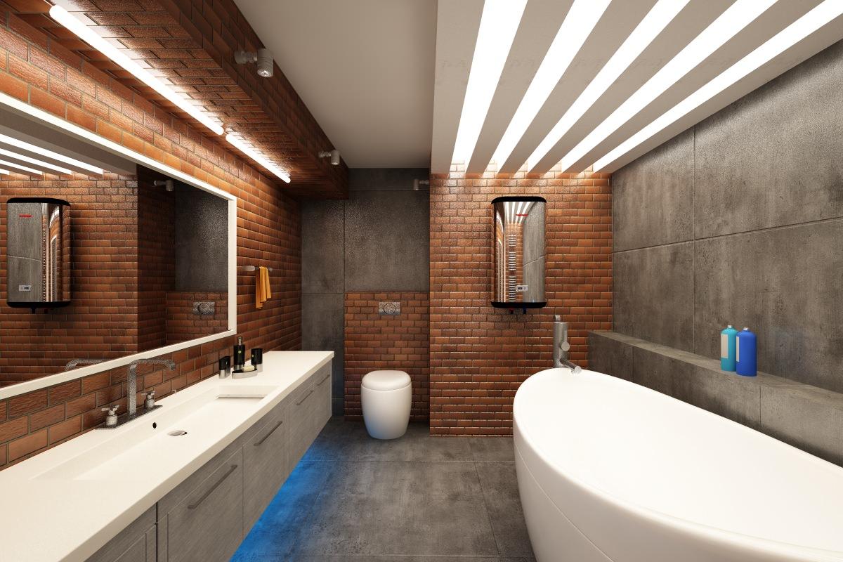 Коричневый, серый и белый цвета в дизайне ванной в стиле лофт