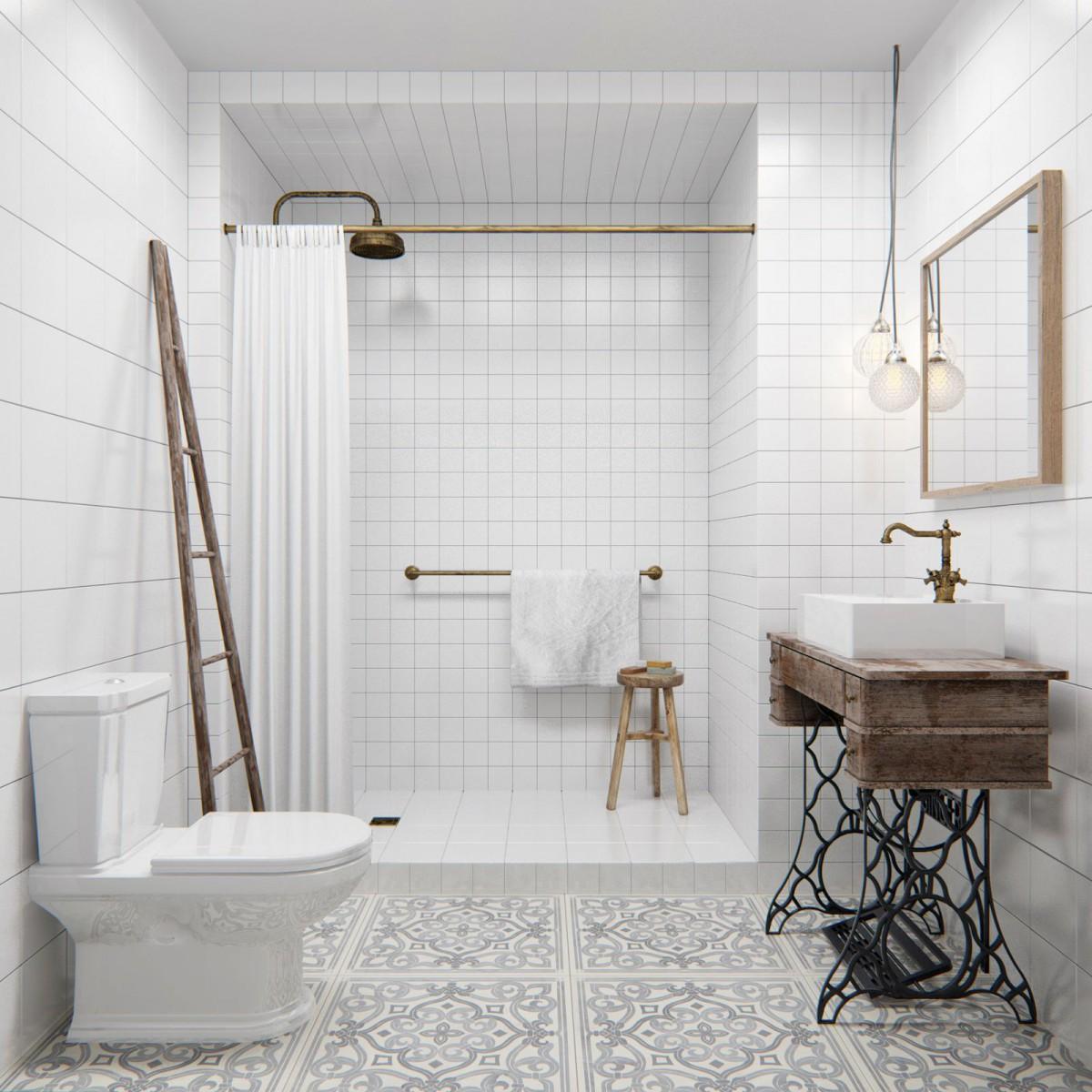 Бело-коричневая ванная в стиле лофт