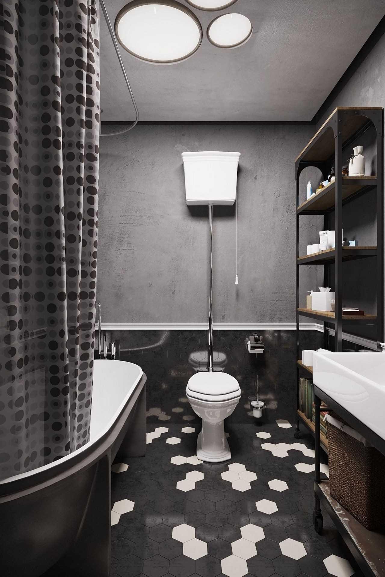 Современная черно-белая ванная комната в стиле лофт
