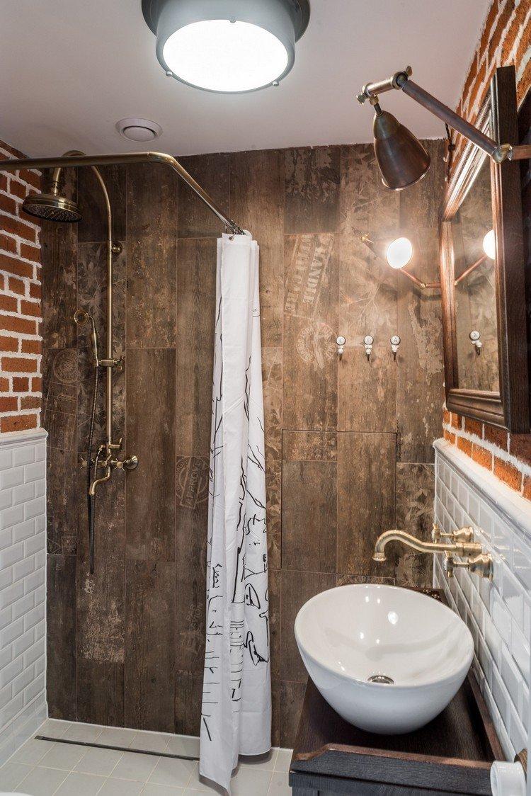 Красивая ванная в стиле лофт