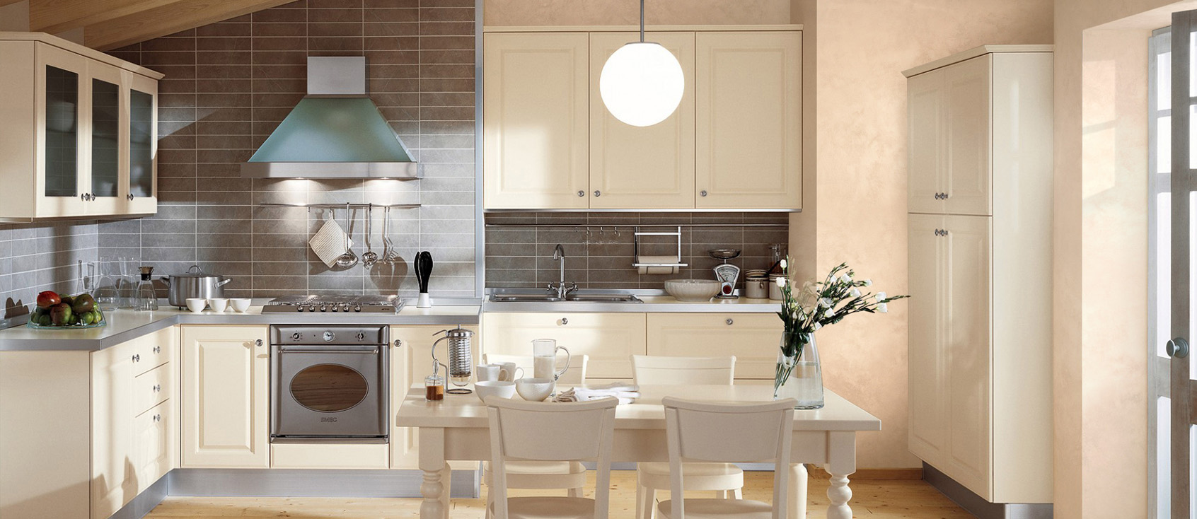 Персиковая шпаклевка в отделке кухни