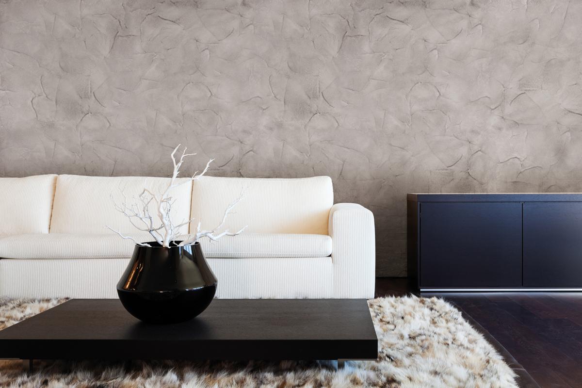 Шпаклевка серого цвета на стенах гостиной