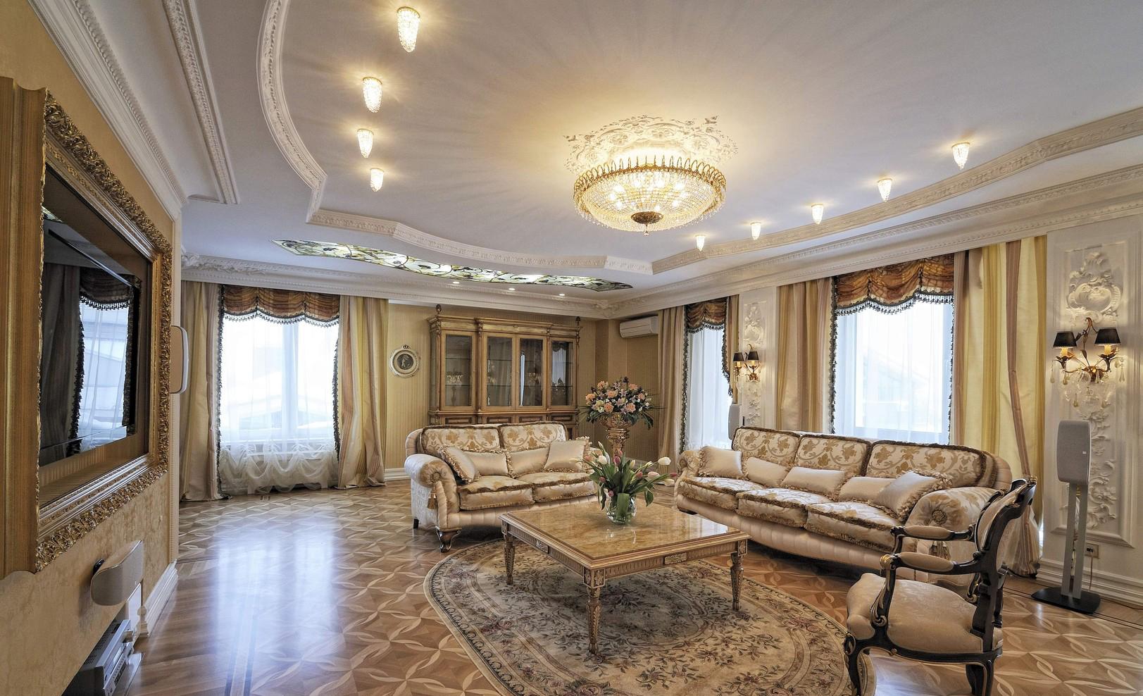 Художественный ламинат в классической гостиной