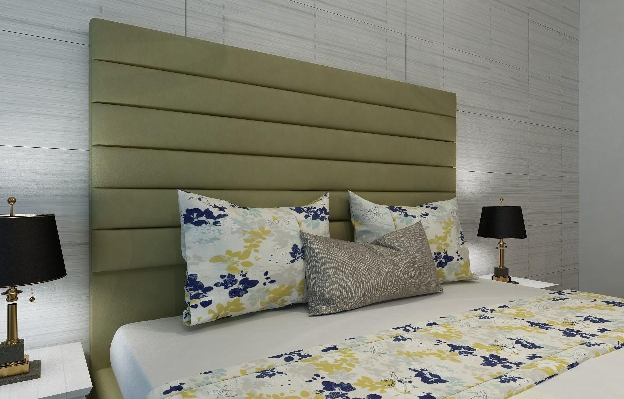 Кровать с мягким изголовьем зеленым