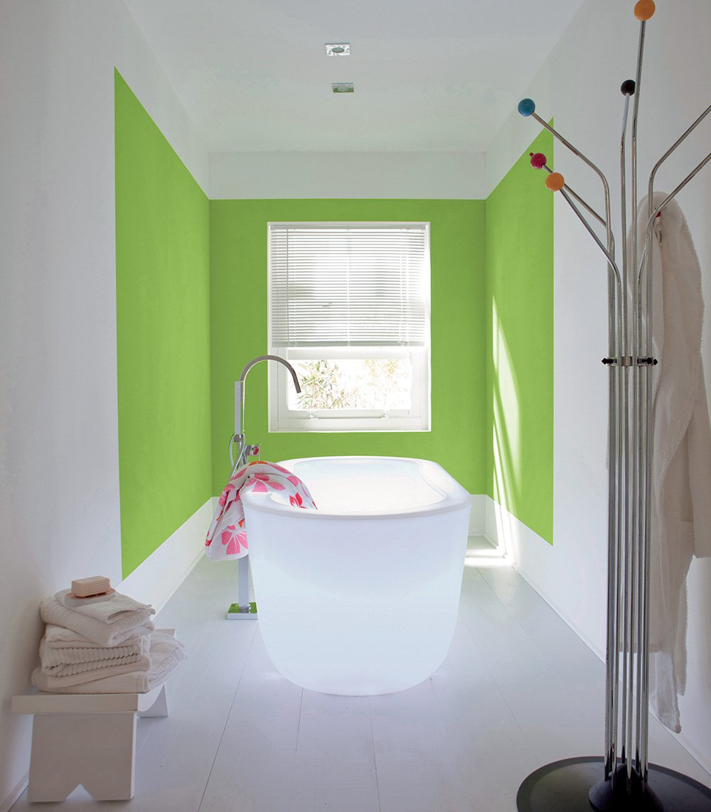 Зеленая краска для стен в ванной