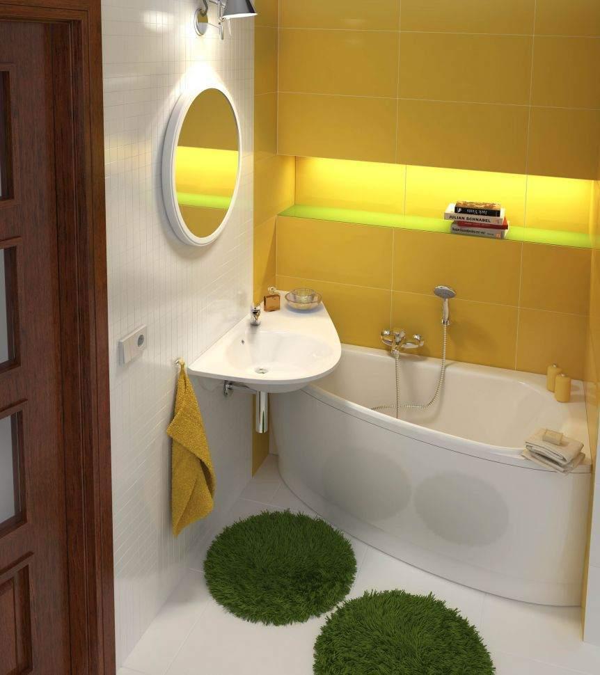 Желтая ванная без унитаза