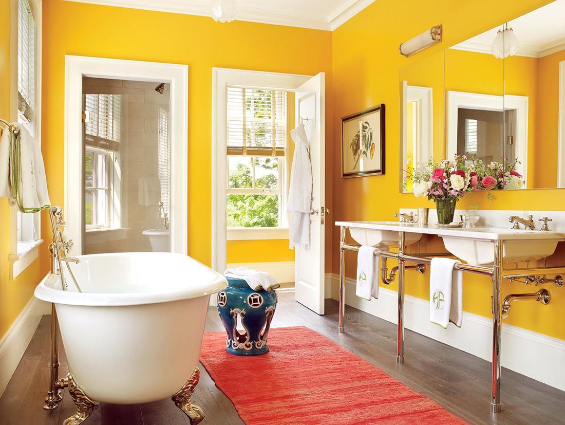 Желтая краска для стен в ванной