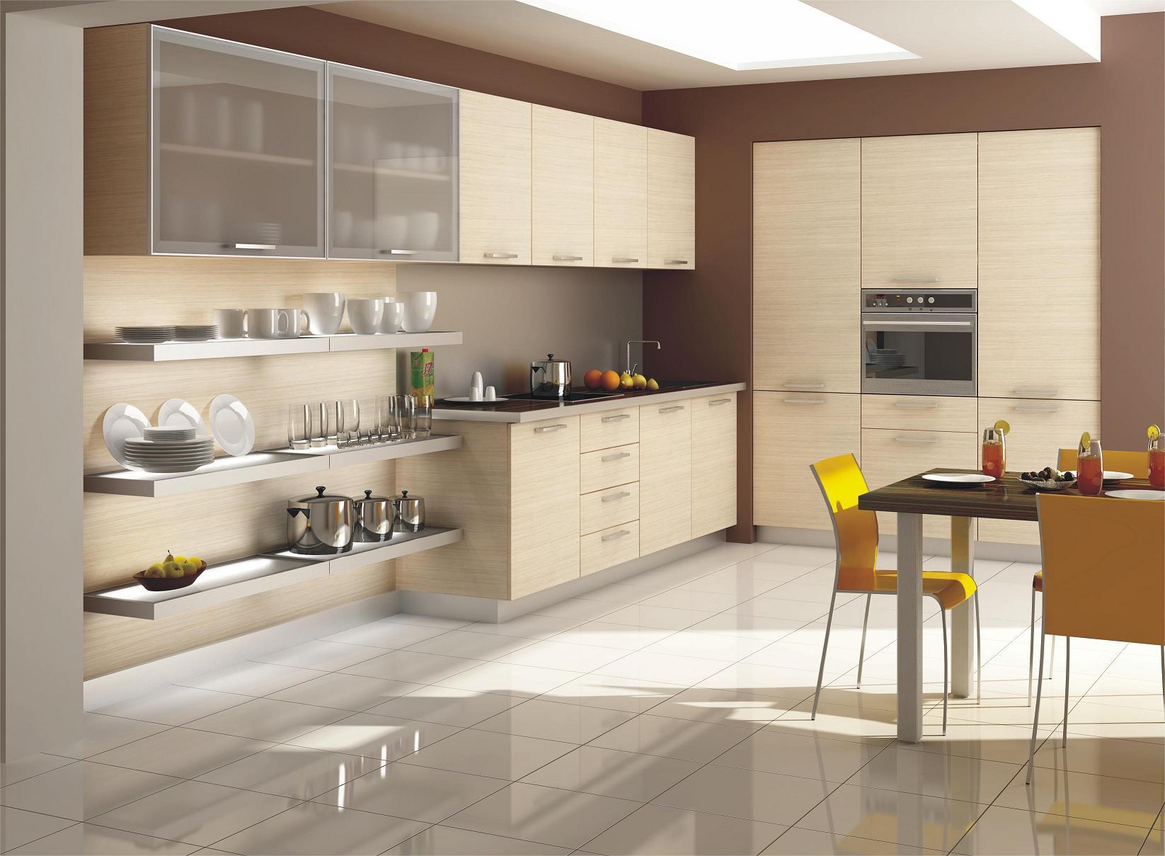 Бежевый гарнитур в современной кухне