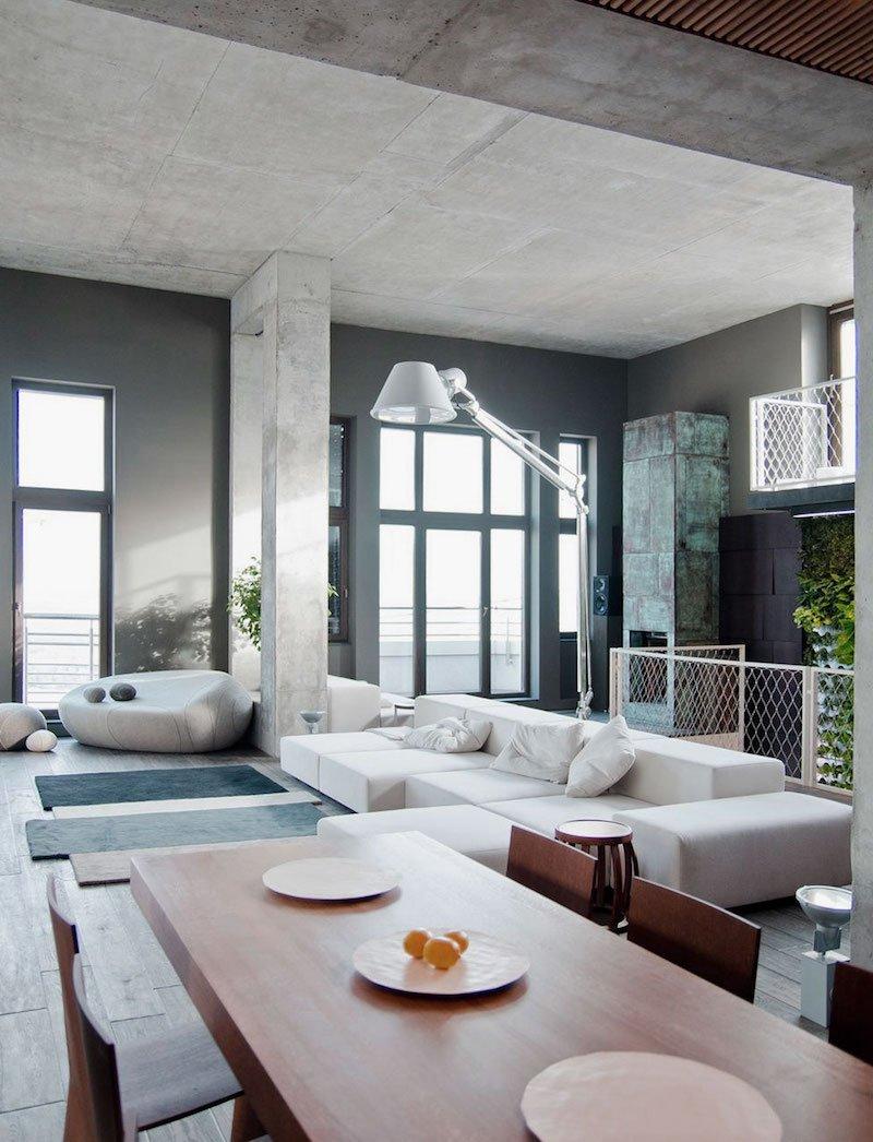 Зонирование гостиной и кухни бетонными блоками