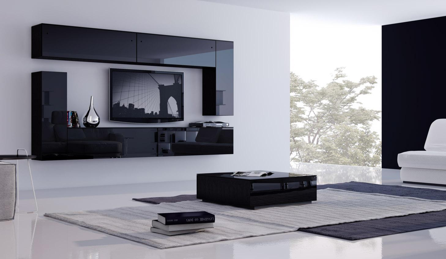 Черные полки под телевизор и столик в гостиной