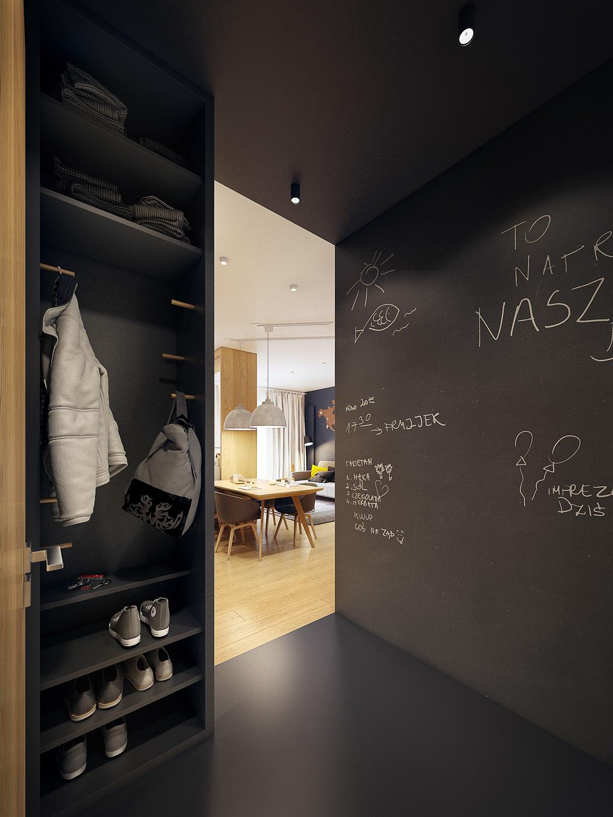 Черная отделка и шкаф в прихожей