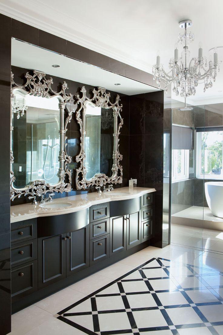 Черная классическая тумба в ванной комнате