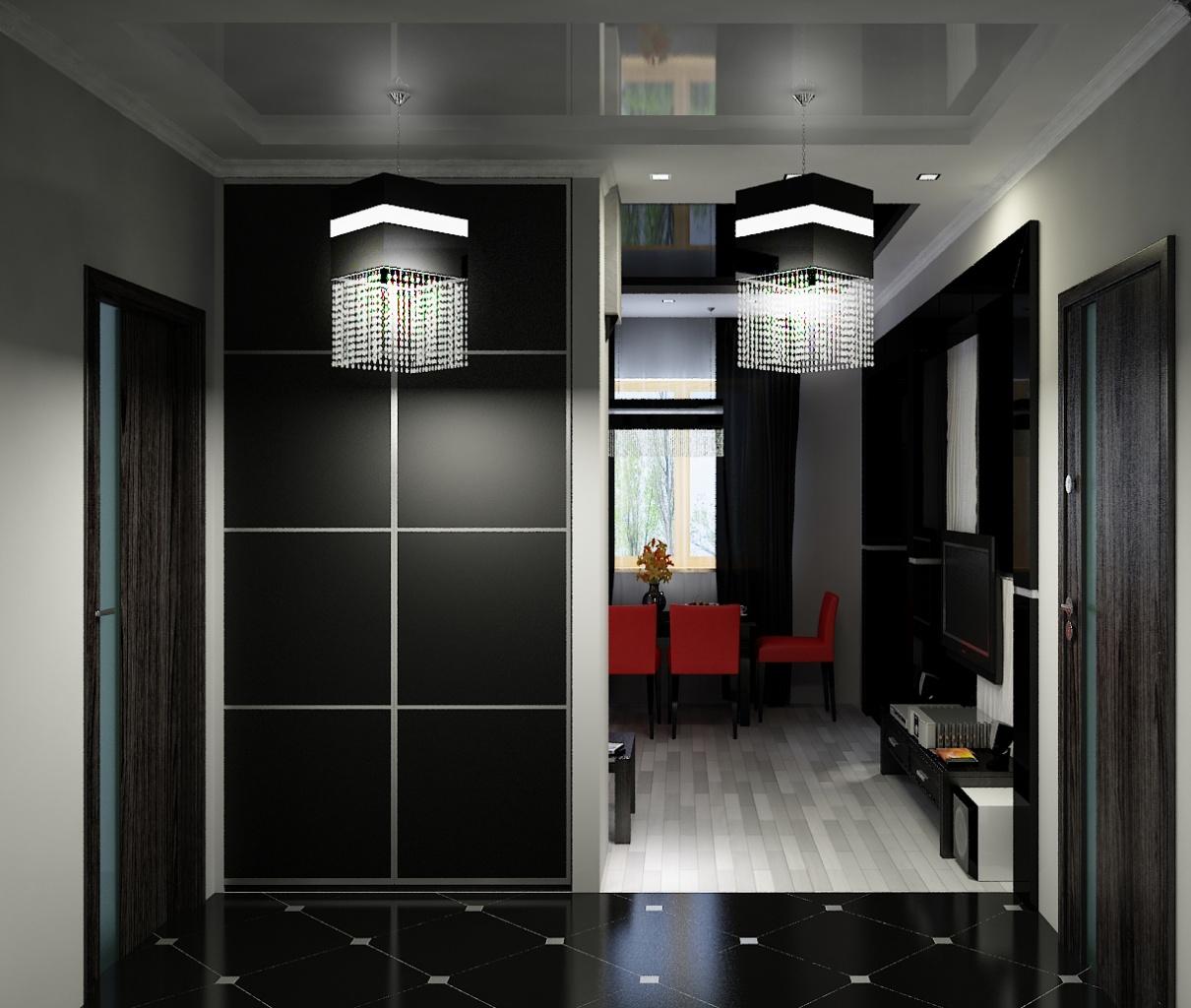 Черный шкаф в прихожей