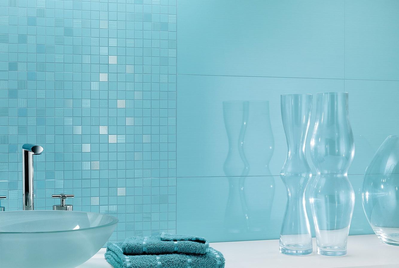 Декор голубой ванной комнаты