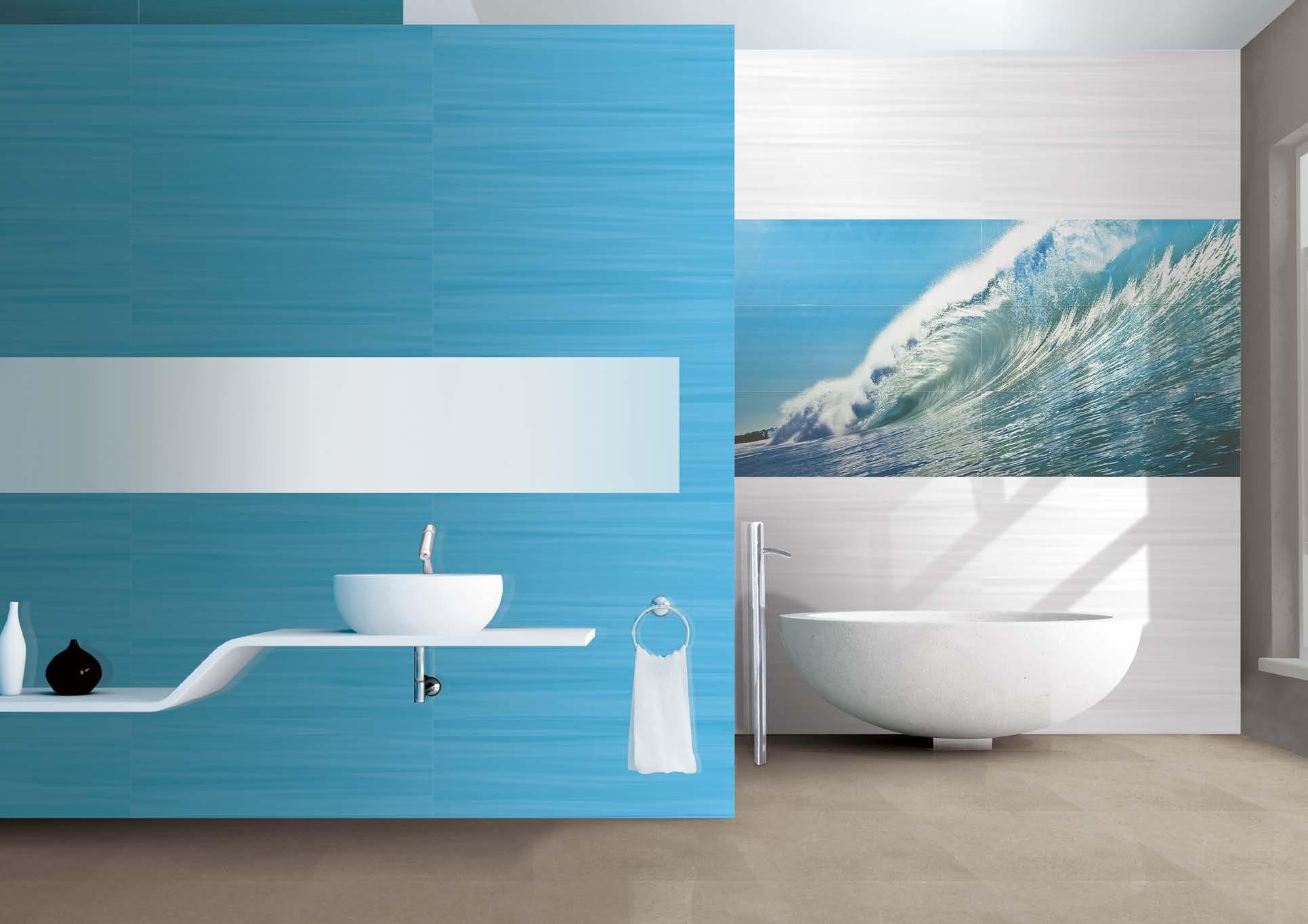 Красивый дизайн стен в голубой ванной