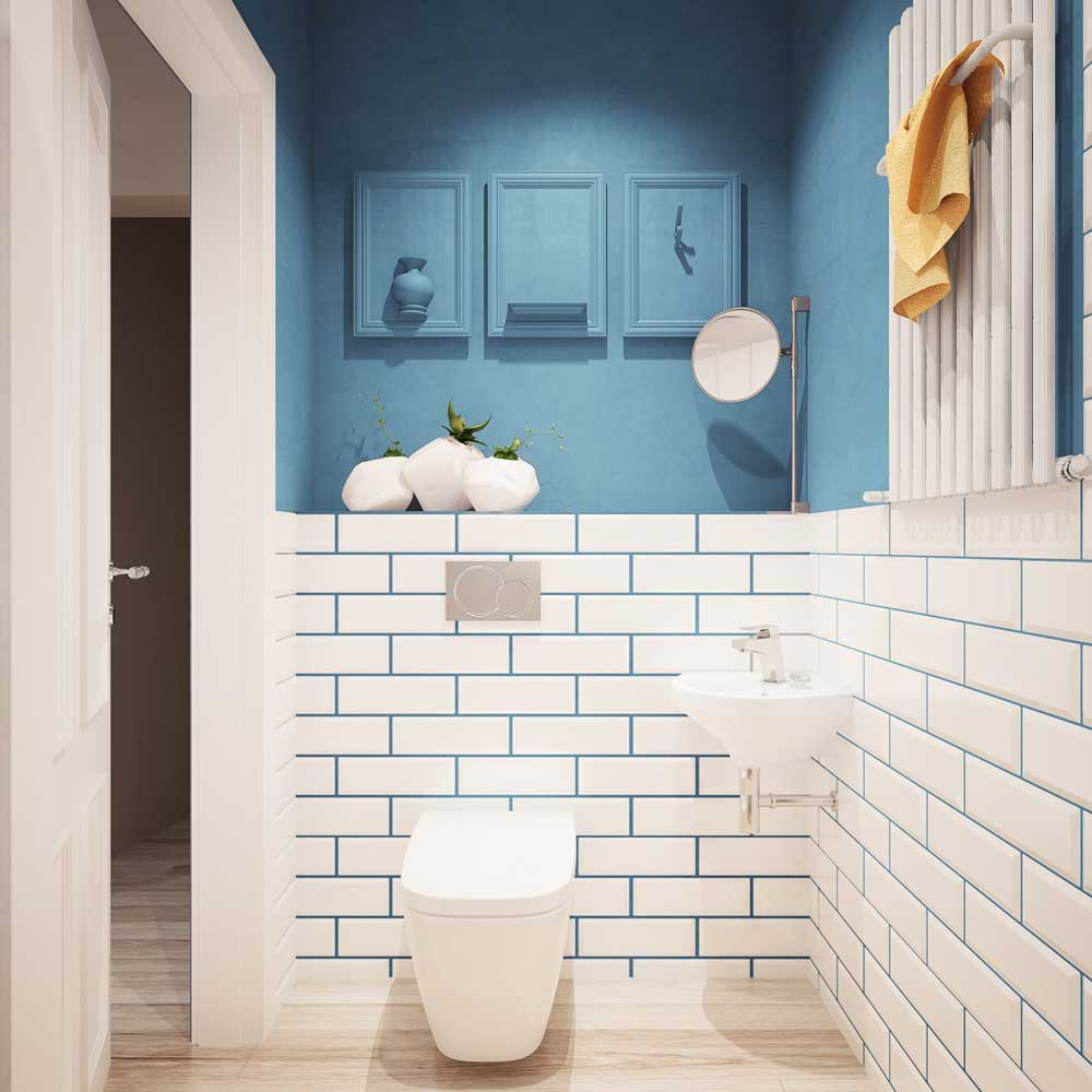 Бело-голубая отделка стен в ванной