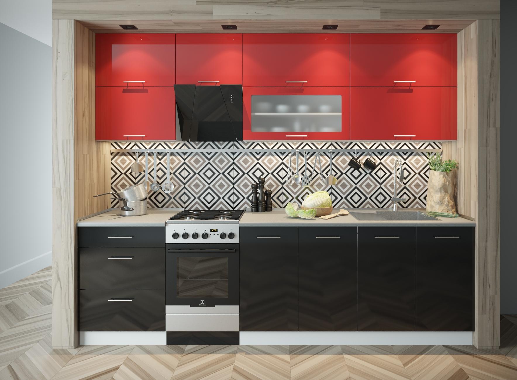 Красно-черная крашеная кухня