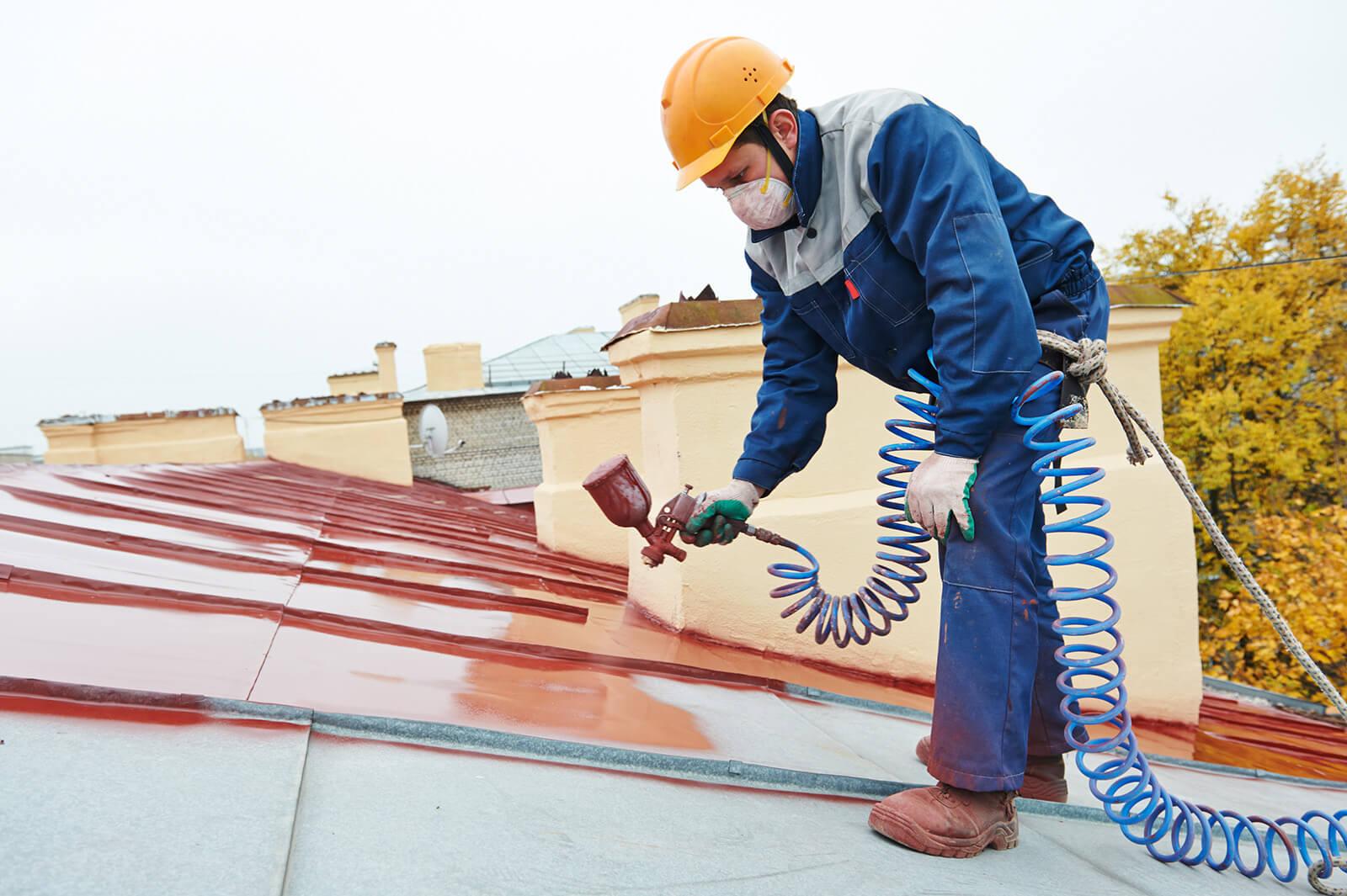 Процесс покраски крыши краскопультом